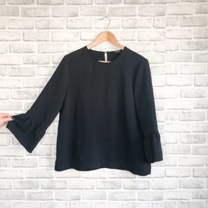 Madewell Bell Sleeve Black Top